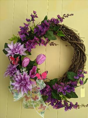 Silk grapevine wreath with purple tulips by Arrington Flowers, Your Rocky Mount, VA Florist