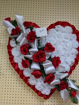 Red & white silk heart by Arrington Flowers, Your Rocky Mount, VA Florist