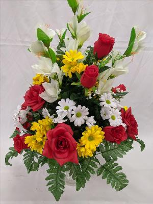 Red yellow & white silk cemetery vase by Arrington Flowers, Your Rocky Mount, VA Florist