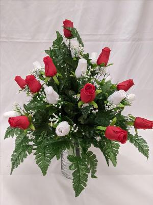 Red & white rose silk cemetery vase by Arrington Flowers, Your Rocky Mount, VA Florist