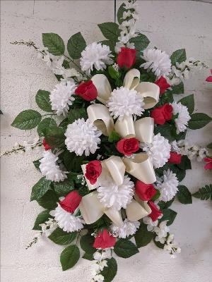 Red & White Silk Spray by Arrington Flowers, Your Rocky Mount, VA Florist