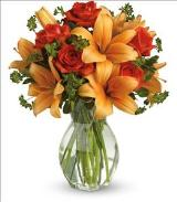 Fiery Lily and Rose by Arrington Flowers, Your Rocky Mount, VA Florist