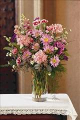 Pink & Purple in Glass Vase by Arrington Flowers, Your Rocky Mount, VA Florist