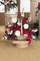 Red & White Fireside Basket by Arrington Flowers, Your Rocky Mount, VA Florist
