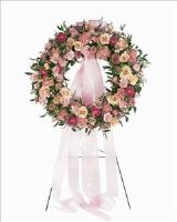 Mixed Pink Wreath by Arrington Flowers, Your Rocky Mount, VA Florist