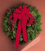 Wreath with Red Velvet Bow by Arrington Flowers, Your Rocky Mount, VA Florist