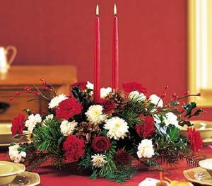 Two Taper Holiday Centerpiece by Arrington Flowers, Your Rocky Mount, VA Florist