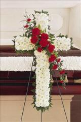 White & Red Cross by Arrington Flowers, Your Rocky Mount, VA Florist