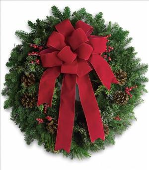 Classic Holiday Wreath by Arrington Flowers, Your Rocky Mount, VA Florist