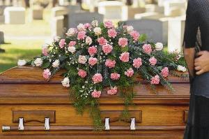 Closed Casket Pink Spray by Arrington Flowers, Your Rocky Mount, VA Florist