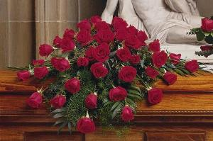 48 Red Rose Casket Spray by Arrington Flowers, Your Rocky Mount, VA Florist