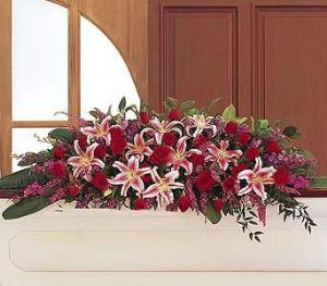 Amethyst And Ruby Casket Spray by Arrington Flowers, Your Rocky Mount, VA Florist