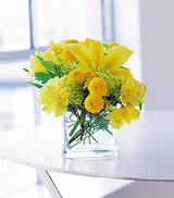 Cube with Yellow Blooms by Arrington Flowers, Your Rocky Mount, VA Florist